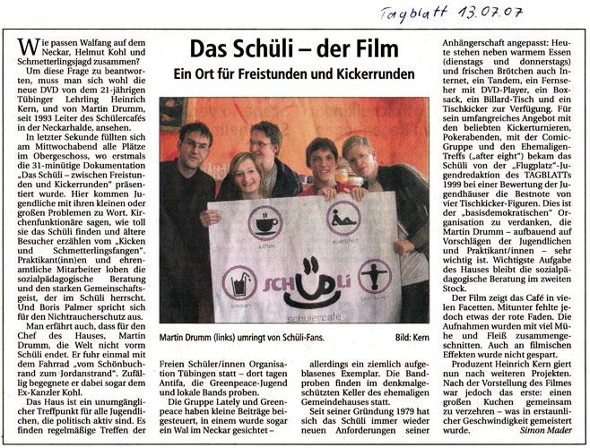 Zeitungsartikel Schüli